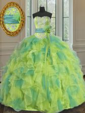 Low Price Beading and Appliques and Ruffles and Sashes ribbons and Hand Made Flower Sweet 16 Dress Multi-color Lace Up Sleeveless Floor Length