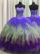 Fantastic Visible Boning Multi-color Ball Gowns Sweetheart Sleeveless Tulle Floor Length Lace Up Beading and Ruffles and Sequins Sweet 16 Dresses