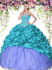 Captivating Floor Length Turquoise and Lavender Sweet 16 Quinceanera Dress Taffeta Sleeveless Beading and Pick Ups
