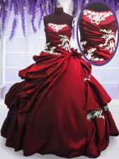 Sleeveless Floor Length Appliques and Pick Ups Lace Up Sweet 16 Quinceanera Dress with Wine Red