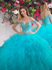 Off the Shoulder Sleeveless Lace Up Floor Length Beading and Ruffles Quince Ball Gowns