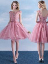 Stylish Pink Scoop Neckline Appliques and Belt Court Dresses for Sweet 16 Cap Sleeves Lace Up
