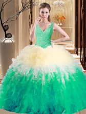 Multi-color Ball Gowns Lace and Appliques and Ruffles 15 Quinceanera Dress Zipper Tulle Sleeveless Floor Length
