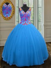 Luxury Blue Zipper Straps Beading and Sequins Quince Ball Gowns Tulle Sleeveless