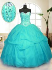 Exquisite Aqua Blue Sweetheart Lace Up Sequins and Pick Ups Quinceanera Dress Sleeveless