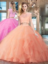 Scoop Peach Cap Sleeves With Train Beading and Appliques and Ruffles Zipper Ball Gown Prom Dress