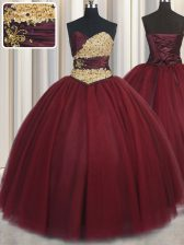 Wine Red Ball Gowns Beading and Appliques Vestidos de Quinceanera Lace Up Tulle Sleeveless Floor Length