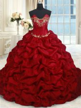 Floor Length Lace Up Quinceanera Dress Wine Red for Military Ball and Sweet 16 and Quinceanera with Beading and Pick Ups