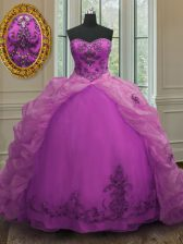 Glorious Fuchsia Sleeveless Court Train Beading and Appliques and Pick Ups With Train Vestidos de Quinceanera
