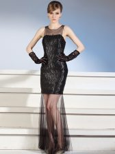 Sophisticated Scoop Black Sleeveless Pattern Floor Length Evening Dress