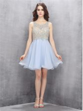 Scoop Chiffon Sleeveless Mini Length Prom Party Dress and Beading and Sequins