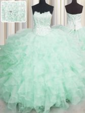 Visible Boning Apple Green Sweet 16 Quinceanera Dress Military Ball and Sweet 16 and Quinceanera with Beading and Ruffles Scalloped Sleeveless Lace Up