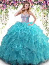 Shining Aqua Blue Ball Gowns Organza Sweetheart Sleeveless Beading and Ruffles Floor Length Lace Up Quinceanera Dresses
