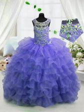 Scoop Organza Sleeveless Floor Length Little Girls Pageant Dress Wholesale and Beading and Ruffled Layers