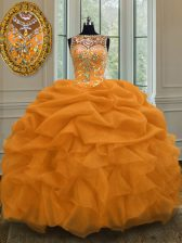 Most Popular Scoop Sleeveless Quinceanera Gown Floor Length Beading and Pick Ups Gold Organza
