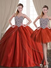 Three Piece With Train Lace Up Sweet 16 Quinceanera Dress Rust Red for Military Ball and Sweet 16 and Quinceanera with Beading Brush Train