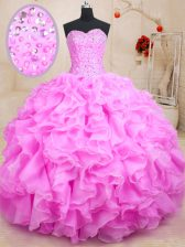 Beauteous Rose Pink Ball Gowns Sweetheart Sleeveless Organza Floor Length Lace Up Beading and Ruffles 15 Quinceanera Dress