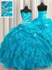 Fine Sleeveless Organza Floor Length Lace Up Vestidos de Quinceanera in Aqua Blue with Beading and Appliques and Ruffles