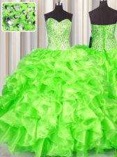 High Quality Sleeveless Organza Floor Length Lace Up Quince Ball Gowns in with Beading and Ruffles