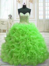 High Class Sweetheart Lace Up Beading and Ruffles 15th Birthday Dress Sweep Train Sleeveless