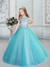 Scoop Floor Length Aqua Blue Little Girl Pageant Dress Tulle Sleeveless Beading