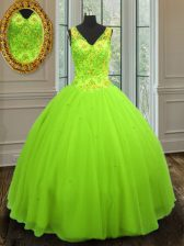 Charming Straps Tulle Sleeveless Floor Length 15 Quinceanera Dress and Beading