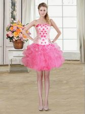 Fashion Beading and Appliques and Ruffles Prom Gown Rose Pink Lace Up Sleeveless Mini Length