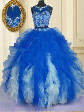 Scoop Sleeveless Zipper Sweet 16 Dress Blue And White Tulle