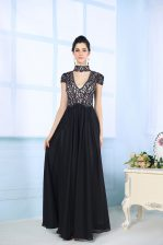 Artistic Black Prom Party Dress Prom and Party with Beading and Lace High-neck Short Sleeves Zipper