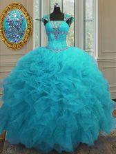 Straps Cap Sleeves Ball Gown Prom Dress Floor Length Beading and Ruffles and Sequins Aqua Blue Organza