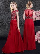 Red Empire Scoop Cap Sleeves Chiffon Floor Length Zipper Appliques Homecoming Dress