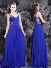 V-neck Sleeveless Side Zipper Homecoming Dress Royal Blue Chiffon