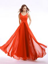 Superior Straps Orange Red Zipper Prom Party Dress Hand Made Flower Sleeveless Floor Length