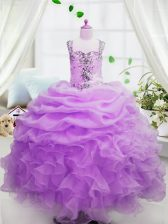 Dazzling Square Sleeveless Little Girl Pageant Dress Floor Length Beading and Ruffles and Pick Ups Rose Pink Organza