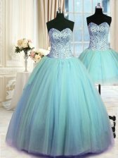 Sumptuous Three Piece Tulle Sweetheart Sleeveless Lace Up Beading Quince Ball Gowns in Blue