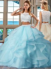 Sleeveless Organza Floor Length Side Zipper Vestidos de Quinceanera in Light Blue with Beading and Ruffles