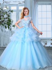 SeeThrough Light Blue A-line High-neck Short Sleeves Organza Floor Length Lace Up Appliques and Ruffled Layers Quince Ball Gowns