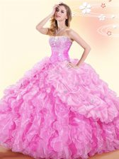 Pick Ups Ball Gowns Quinceanera Dress Rose Pink Sweetheart Organza Sleeveless Floor Length Lace Up