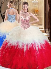 Popular White And Red Quinceanera Dress Military Ball and Sweet 16 and Quinceanera with Beading and Ruffles Halter Top Sleeveless Lace Up