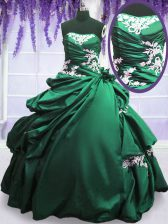 Trendy Pick Ups Ball Gowns Quinceanera Dress Green and Dark Green Strapless Taffeta Sleeveless Floor Length Lace Up