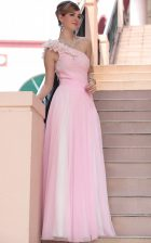 Excellent One Shoulder Floor Length Hot Pink Prom Dresses Chiffon Sleeveless Beading and Hand Made Flower