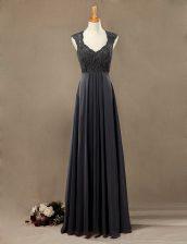 Black Scoop Zipper Lace Homecoming Dress Sleeveless