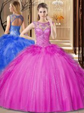 Scoop Beading and Ruffles Quinceanera Dress Hot Pink Lace Up Sleeveless Floor Length