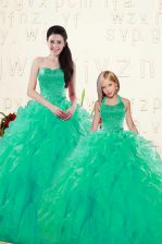 Latest Sweetheart Sleeveless Lace Up Sweet 16 Quinceanera Dress Turquoise Organza