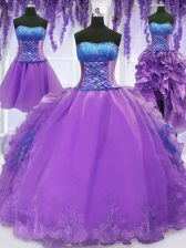 Custom Fit Four Piece Floor Length Lace Up 15th Birthday Dress Lavender for Military Ball and Sweet 16 and Quinceanera with Embroidery and Ruffles