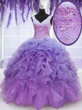 Suitable Organza V-neck Sleeveless Lace Up Beading and Embroidery and Ruffles Sweet 16 Dress in Lavender