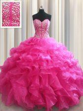 Visible Boning Organza Sleeveless Floor Length 15th Birthday Dress and Beading and Ruffles