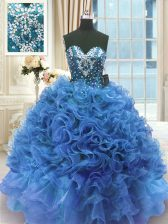 Customized Blue Ball Gowns Beading and Ruffles Sweet 16 Quinceanera Dress Lace Up Organza Sleeveless Floor Length