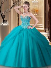 Sexy Floor Length Teal Quince Ball Gowns Tulle Sleeveless Beading