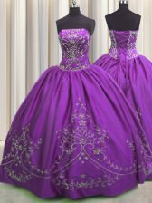 Pretty Sleeveless Floor Length Embroidery Lace Up Quinceanera Dress with Eggplant Purple